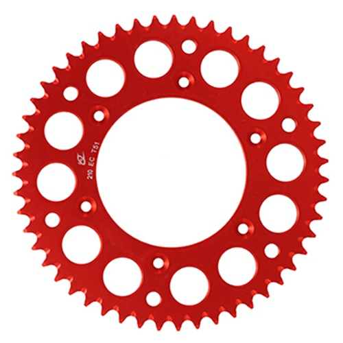 EC red rear sprocket - 52 teeth - pitch 520 | Chiaravalli | stock pitch