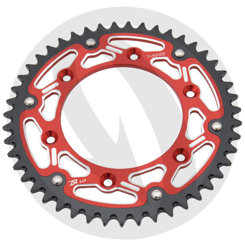 X-Race red rear sprocket - 52 teeth - pitch 520 | Chiaravalli | stock pitch