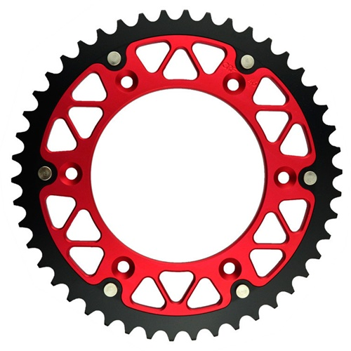 X-Race red rear sprocket - 51 teeth - pitch 520 | Chiaravalli | stock pitch