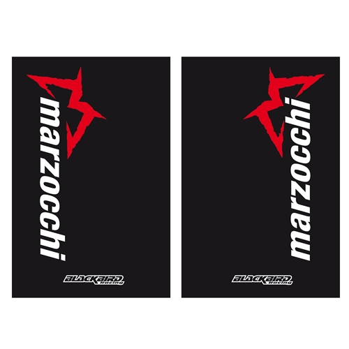 Couple of black Marzocchi fork stickers | left + right | Blackbird Racing