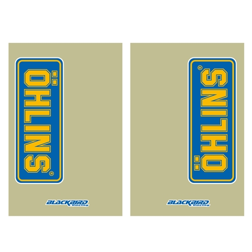 Couple of Ohlins transparent fork stickers | left + right | Blackbird Racing