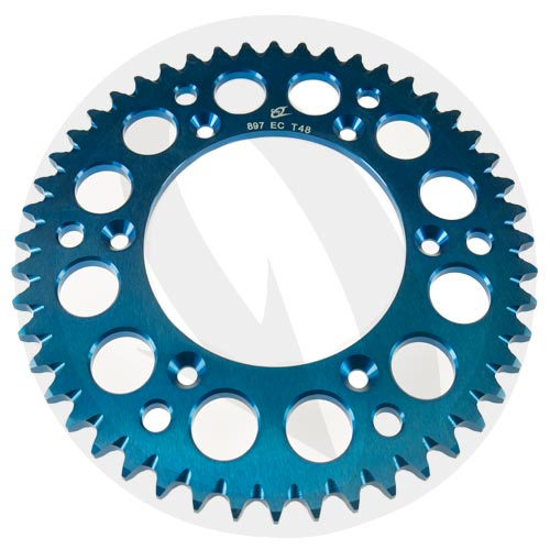 EC blue rear sprocket - 48 teeth - pitch 520 | Chiaravalli | stock pitch