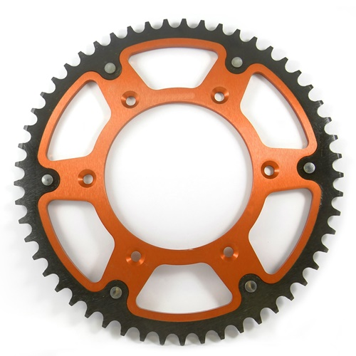 X-Race orange rear sprocket - 52 teeth - pitch 520 | Chiaravalli | stock pitch