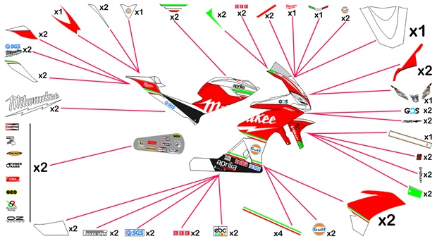 Stickers replica Aprilia RSV4 RF Milwaukee SBK 2018 (race)