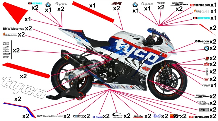Stickers replica BMW S 1000 RR Tyco BSB 2015 (race to be clear coated)