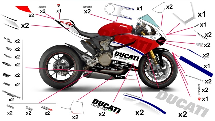 Stickers replica Ducati Panigale R Zaltbommel (race to be clear coated)