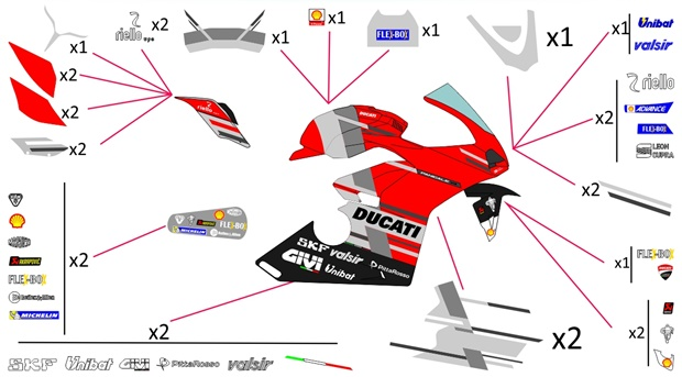 Stickers replica Ducati MotoGP 2018 | race