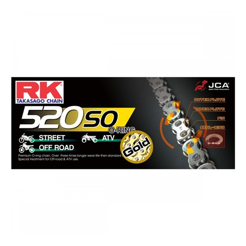 GB520SO gold chain - 120 links - pitch 520 | RK | stock pitch