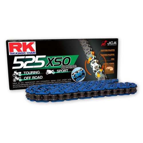 BB525XSO blue chain - 124 links - pitch 525 | RK | stock pitch