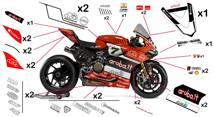 Stickers replica Ducati Panigale R Aruba SBK 2016 (street not to be clear coated)