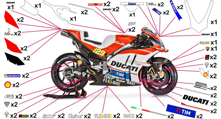 Stickers replica Ducati Desmosedici TIM MotoGP 2016 (race not to be clear coated)
