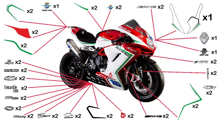Stickers replica MV Agusta F3 Reparto Corse SS 2015 (race not to be clear coated)