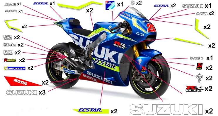 Stickers replica Suzuki GSX-RR Ecstar MotoGP 2016 (street to be clear coated - no fluo)