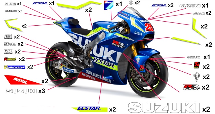Stickers replica Suzuki GSX-RR Ecstar MotoGP 2016 (street to be clear coated - fluo)