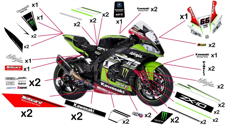 Stickers replica Kawasaki ZX-10R Racing SBK 2016 (race not to be clear coated)