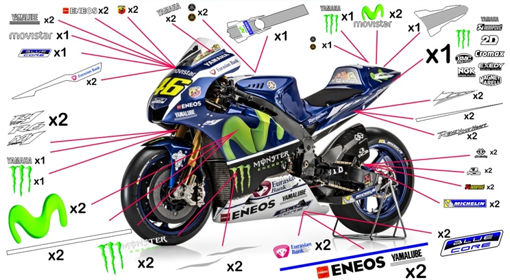 Stickers replica Yamaha YZR-M1 Movistar MotoGP 2016 (street to be clear coated)