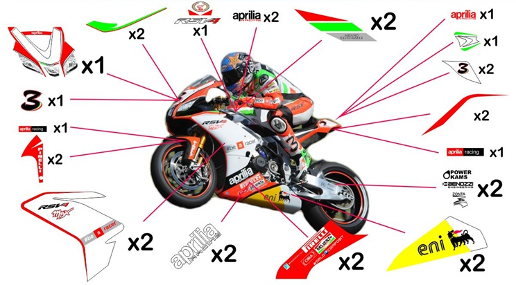 Stickers replica Aprilia RSV4 RF Max Biaggi SBK 2015 (race not to be clear coated)