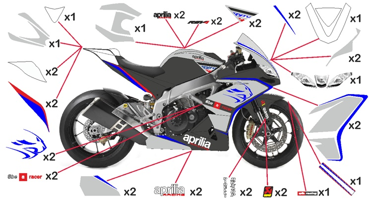 Stickers replica Aprilia RSV4 Racing (street to be clear coated)