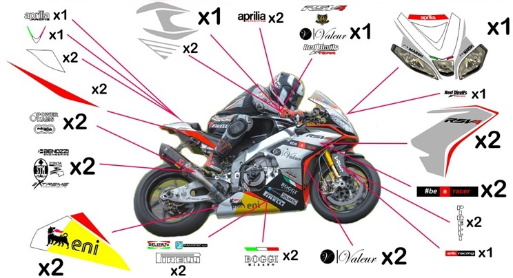 Stickers replica Aprilia RSV4 RF Red Devils SBK 2015 (race not to be clear coated)