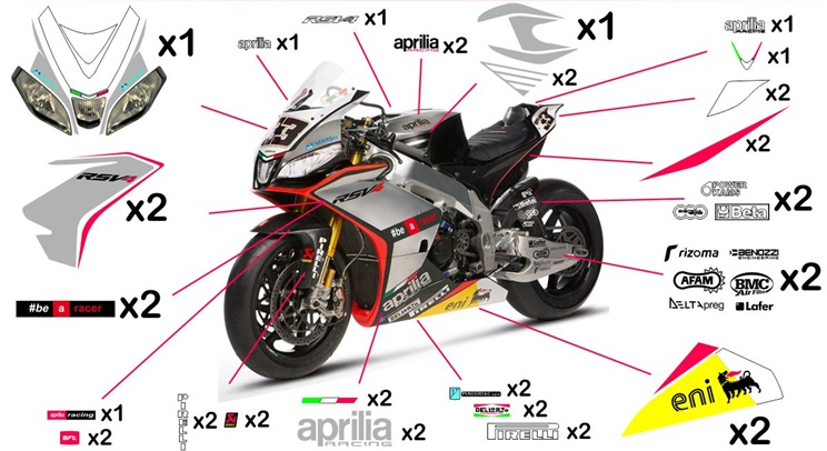Stickers replica Aprilia RSV4 Factory Racing SBK 2014 (street to be clear coated)
