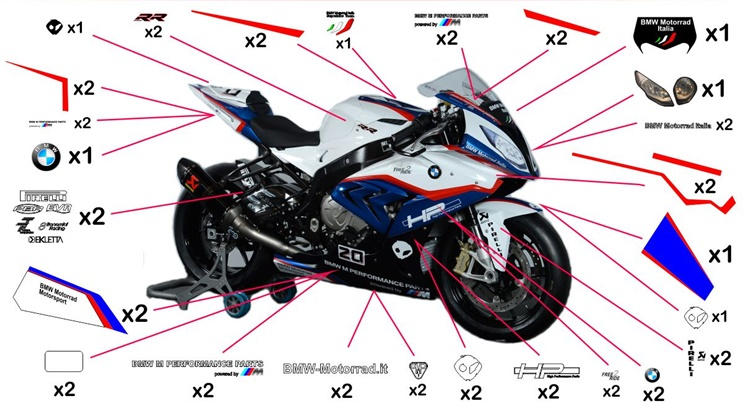 Stickers replica BMW S 1000 RR Motorrad Italia SBK 2015 (street not to be clear coated)