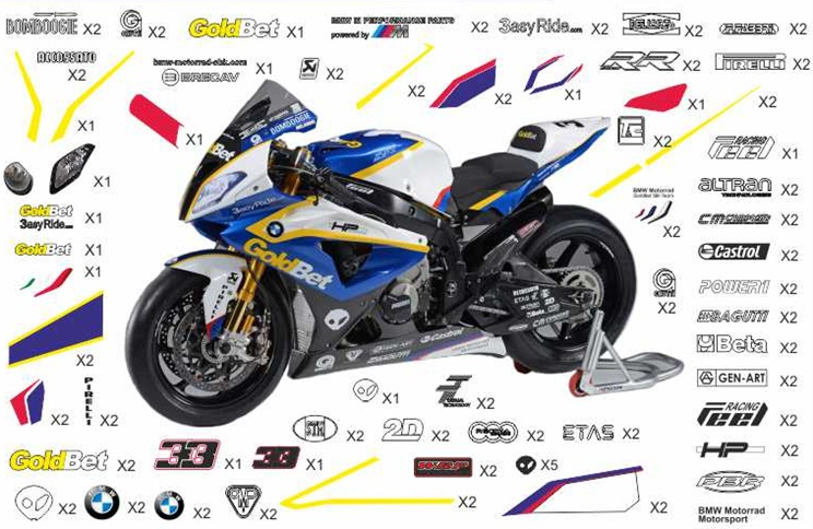 Stickers replica BMW S 1000 RR Motorrad GoldBet SBK 2013 (street to be clear coated)