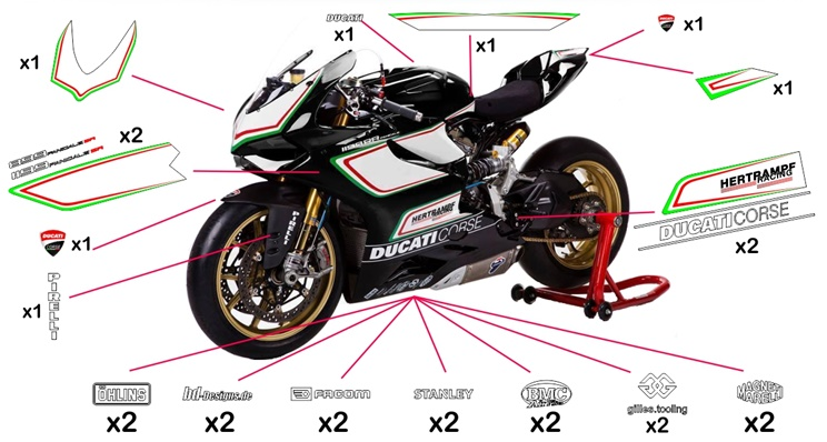 Stickers replica Ducati Corse Tricolore (street to be clear coated)