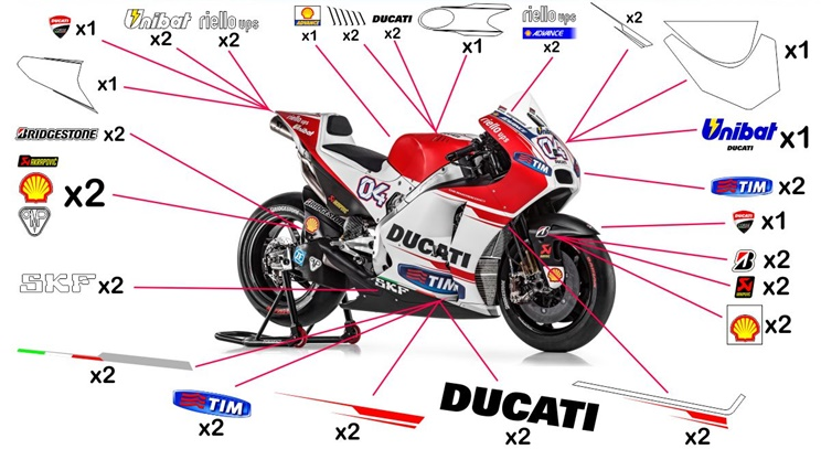Stickers replica Ducati Desmosedici MotoGP 2015 (street to be clear coated)