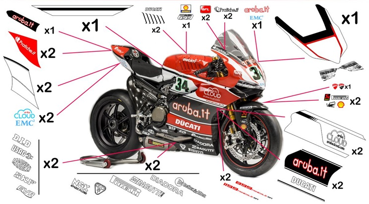 Stickers replica Ducati Panigale R Aruba SBK 2015 (street to be clear coated)