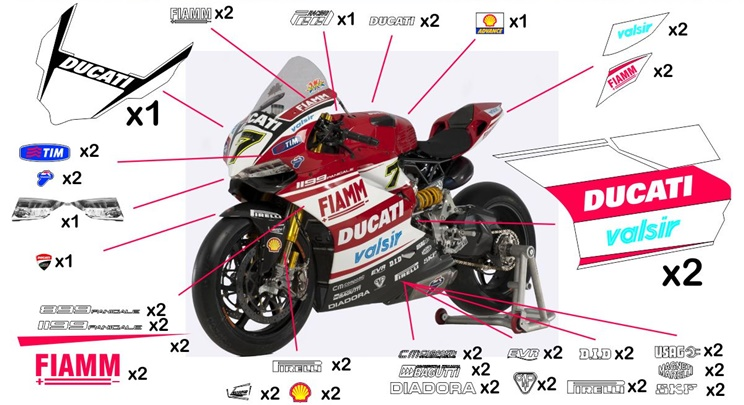 Stickers replica Ducati 1199 Panigale SBK 2014 (street to be clear coated)