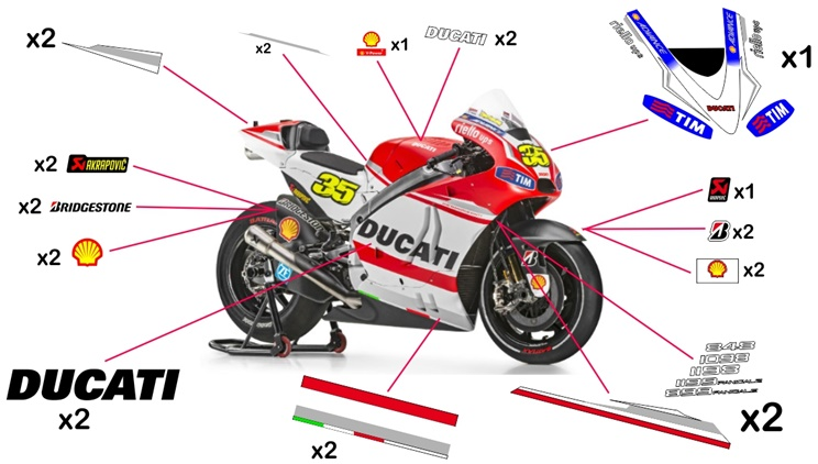 Stickers replica Ducati Desmosedici MotoGP 2014 (street not to be clear coated)