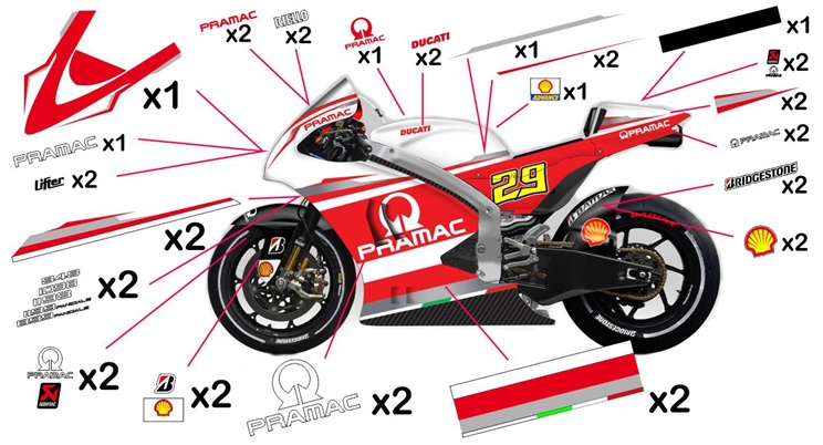 Stickers replica Ducati Desmosedici Pramac MotoGP 2014 (street not to be clear coated)
