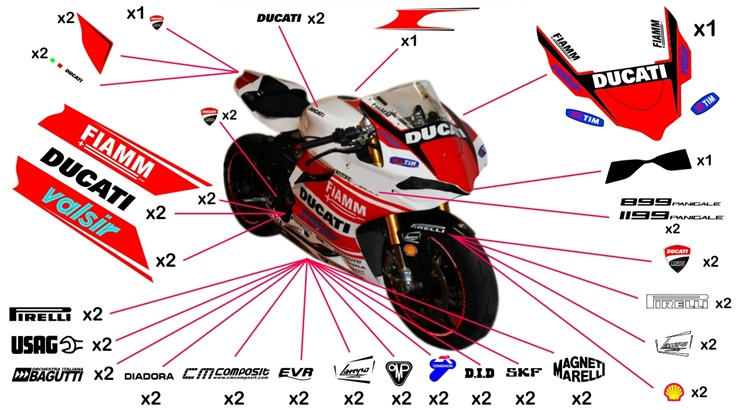 Stickers replica Ducati 1199 Panigale White SBK 2014 (street to be clear coated)
