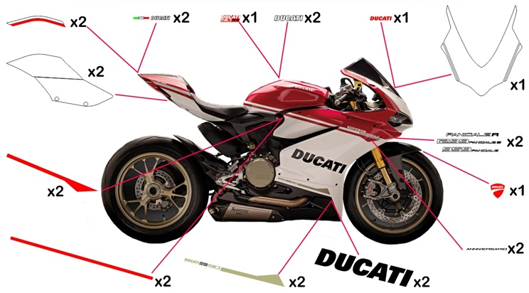 Stickers replica Ducati 90th Anniversary (race not to be clear coated)
