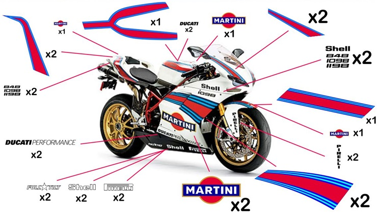 Stickers replica Ducati Martini Racing (street to be clear coated)
