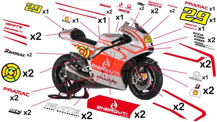 Stickers replica Ducati Desmosedici Pramac MotoGP 2013 (race not to be clear coated)