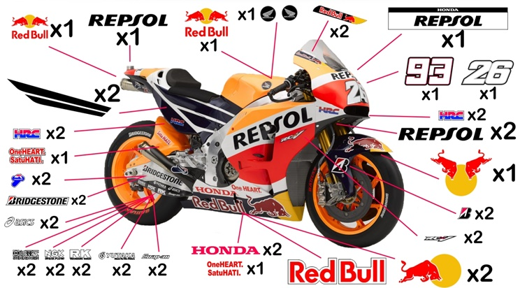 Stickers replica Honda Repsol MotoGP 2015 (race not to be clear coated)