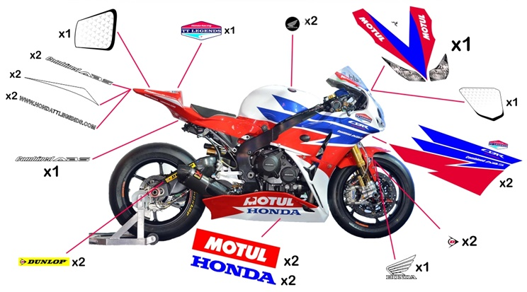 Stickers replica Honda TT Legends TT SBK 2013 (street not to be clear coated)