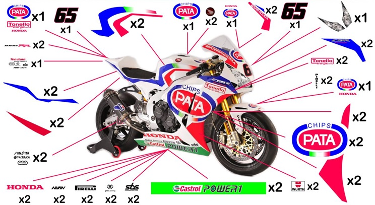 Stickers replica Honda Pata SBK 2014 (race to be clear coated)