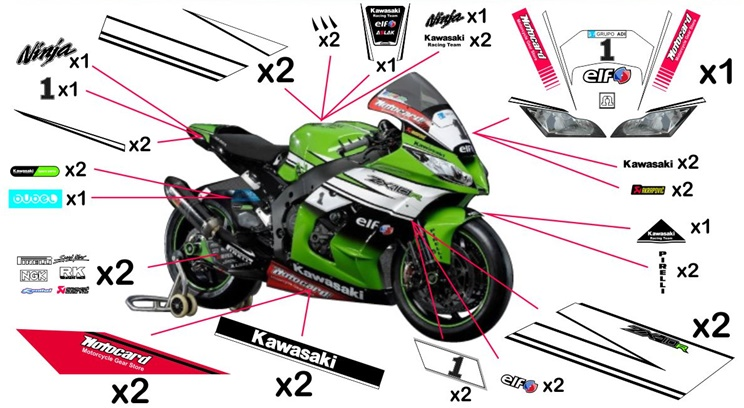 Stickers replica Kawasaki ZX-10R Racing SBK 2014 (race not to be clear coated)