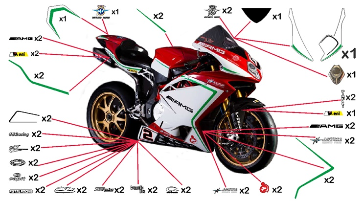 Stickers replica MV Agusta F4 Reparto Corse SBK 2015 (street to be clear coated)