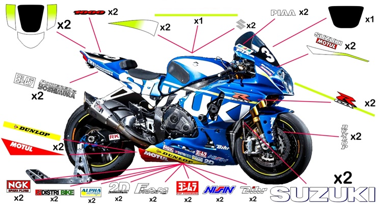 Stickers replica Suzuki GSX-R 1000 EWC SERT Endurance 2015 (street not to be clear coated - no fluo)