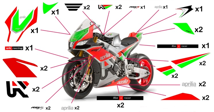 Stickers replica Aprilia RSV4 RF W (race not to be clear coated- fluo)