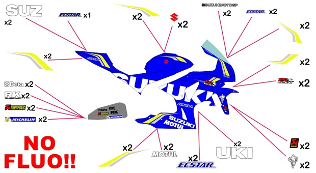 Stickers replica Suzuki Ecstar MotoGP 2018 (race - no fluo)