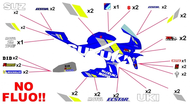 Stickers replica Suzuki Ecstar MotoGP 2019 | race no fluo