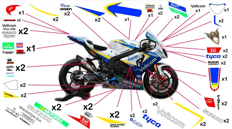 Stickers replica Suzuki GSX-R 1000 Voltcom Crescent SBK 2015 (street to be clear coated)