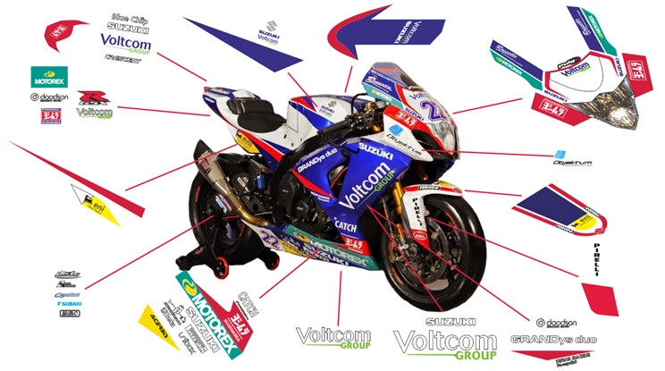 Stickers replica Suzuki GSX-R 1000 Voltcom Crescent SBK 2014 (street not to be clear coated)