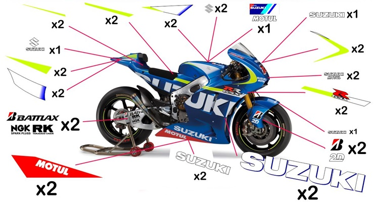 Stickers replica Suzuki GSX-RR MotoGP 2015 (street to be clear coated - fluo)