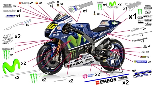 Stickers replica Yamaha Movistar MotoGP 2016 (race)