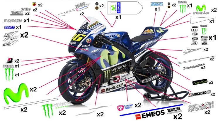 Stickers replica Yamaha YZR-M1 Movistar MotoGP 2015 (race to be clear coated)